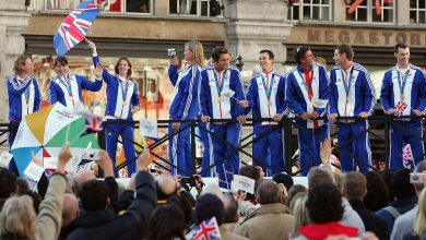 Crowds in central London cheer Team GB's medal winners from Athens
